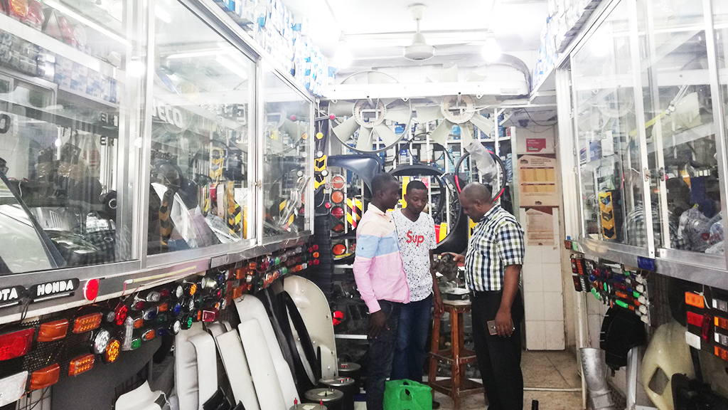 The interior of Abu's spare part shop in Dar Es Salaam