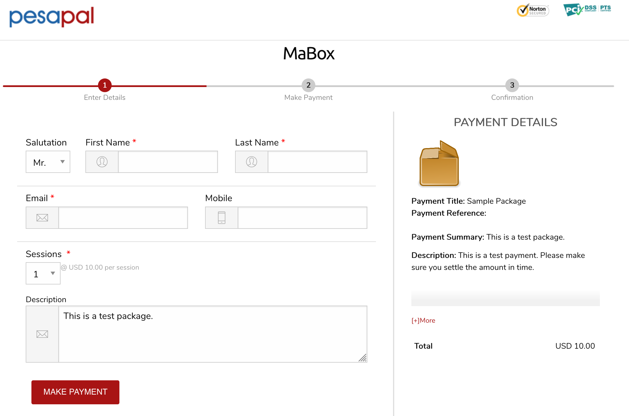 A Package Payments Page
